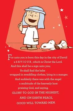 Charlie Brown & Snoopy: For unto us a Savior was born. Meaning Of Christmas, What Is Christmas, Winter Christmas, Christmas Time, Christmas Cards, Christmas Messages, Christmas Greetings, Beautiful Christmas, Christmas Program