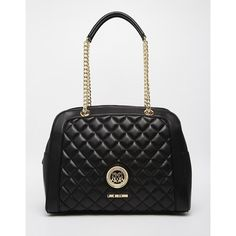 Love Moschino Quilted Bowler Shoulder Bag (€225) ❤ liked on Polyvore featuring bags, handbags, shoulder bags, black, shoulder hand bags, quilted chain strap purse, quilted purse, love moschino handbags and bowler handbag
