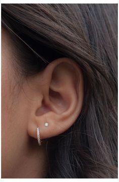 2nd Ear Piercing, Double Ear Piercings, Pretty Ear Piercings, Ear Peircings, Ear Piercings Cartilage, Cartilage Earrings, Tongue Piercings, Outer Conch Piercing, Cartilage Hoop