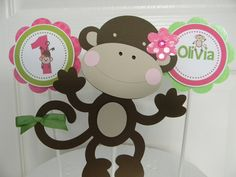 Girl Monkey Birthday Party Cake Topper by sweetheartpartyshop, $10.00