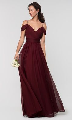 Kleinfeld Long Bridesmaid Dress with Beaded Straps: Limited .- Kleinfeld Long Bridesmaid Dress with Beaded Straps: Limited Availability Image of Kleinfeld long bridesmaid dress with beaded straps. Wine Color Bridesmaid Dress, Burgundy Bridesmaid Dresses Long, Davids Bridal Bridesmaid Dresses, Bridesmaid Dresses Plus Size, Wedding Dresses, Burgandy Dress Long, Maid Of Honour Dresses, Maid Of Honor Dress Long, Luxury Wedding Dress
