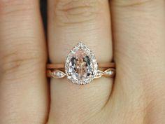 Rosados Box Julie 8x6mm & Ember  Rose Gold Pear Morganite and Diamonds Halo Wedding Set