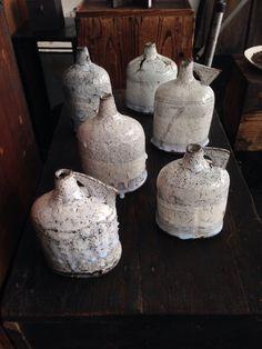 NEW ARRIVAL! Beautiful ceramic bottles by Jane Wheeler.  #ceramics #gallery #Tokyo