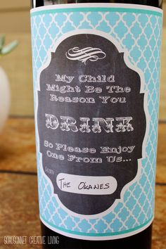 Teacher Appreciation May 5th gift- wine label free printable {My child might be the reason you drink } - SohoSonnet Creative Living