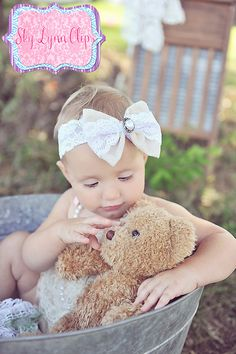 Vintage Inspired Shabby Chic Lacey Bow Headband by SkyLynnClips, $10.00