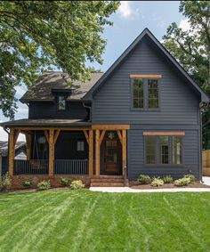 Farmhouse Exterior Design Ideas - The farmhouse exterior design totally reflects the entire style of the house and also the household custom too. The modern farmhouse style is not only for. House Paint Exterior, Exterior House Colors, Exterior Design, Black Exterior, Black Windows Exterior, Simple House Exterior, Black Shutters, Exterior Siding, Black Doors