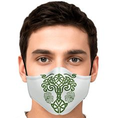 Look fashionable with this custom printed Celtic Tree of Life face mask. It comes with easily adjustable ear loop straps to fit all face shapes, as well as a shapeable hidden nose clip for that perfect fit. The outer surface is printed on a premium breathable polyester fabric that won't irritate your skin. While the inner surface is made from a soft breathable cotton fabric. On the inside of the face mask you can find a pouch where you can add any of your own filters. Irish Design, Celtic Tree Of Life, Irish Celtic, Ear Loop, Face Shapes, Face Masks, Perfect Fit, Filters, Cotton Fabric