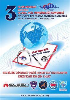 3 Acil Hemşireleri Kongresi Uluslararası Katılımlı   Bu yıl da Avrupa Acil Hemşireleri Derneği (EUsEN) ,Türk Hemşireler Derneği (THD), Sağlık Bakanlığı Acil Sağlık Hizmetleri Genel Müdürlüğü'nün destek ve katılımlarıyla uluslarası olarak düzenlenen kongremizde, hemşireliğinin değerli akademisyenlerini, araştırmacılarını, deneyimli klinisyenleri ve konularında uzman uluslarası tanınmış isimlerini konuşmacı ve katılımcı olarak sizlerle buluşturacağız. Kongremizde; Acil hasta bakımında ...