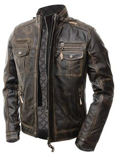 Streamline choice Mens Distressed Brown Classic Diamond Leather Jacket XX-Large