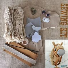 """Small Stick Horse Hobby Horse Mustang Collection """"Chai"""" Sewing Kit Easy Sewing Project Toddler Size"""