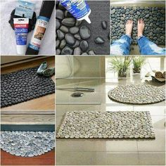 Natural pebble rug