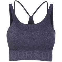 Stylish Women's Grey Letter Pattern Sport Bra ($21) ❤ liked on Polyvore featuring activewear, sports bras and grey sports bra