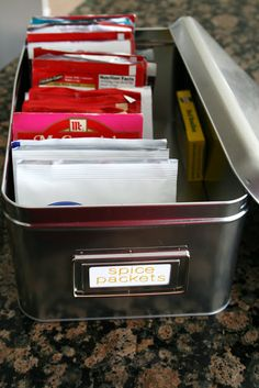 Pantry Organizational Tips decorating blogs, organ, tins, pantries, seed packets, hous, spice storage, spices, spice packet