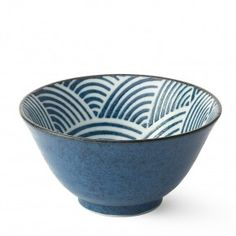Japanese Ceramic Wave Bowls - Set of 4