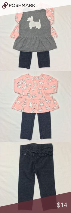 CARTER'S 3 PC OUTFIT SET CARTER'S 3 PC OUTFIT SET. SWEATER VEST WITH PUPPY. LONG SLEEVE BLOUSE WITH MATCHING PUPPY PRINT. JEGGINGS WITH RUFFLE DETAIL ON BACK SIDE. FABRIC: COTTON/ VISCOSE/ POLYESTER/ SPANDEX. CONDITION: GENTLY USED/ NO SIGNS OF WEAR. SIZE 12M Carter's Matching Sets
