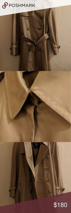 Vintage Burberry Trench Coat Burberry  Double coat Well taken care of, recently dry cleaned, no stains or spots, fabric in great shape Some wear on belt buckle, not noticable when coat is being worn Wool lining with signature Burberry plaid No size listed, probably a US 8-12 Burberry Jackets & Coats Trench Coats