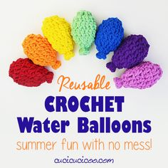 Have summer water battles without picking up bits of broken latex with these awesome homemade crochet reusable water balloons! Great gift or party favor!
