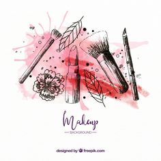 Make up background with modern style Free Vector Makeup Backgrounds, Makeup Drawing, Makeup Artist Logo, Floral Logo, Instagram Logo, Beauty Logo, Cover Pics, Painting Inspiration, Creative Design