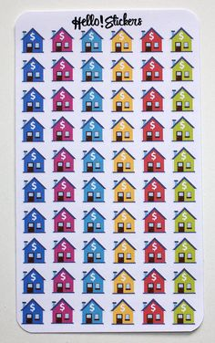 Colorful House, Home, Rent, Mortgage, Bill Reminder Due Stickers, ECLP, Erin Condren, Plum Planner, Happy Planner, Planner Stickers by hellostickers on Etsy