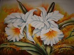 Pano de copa com pintura de orquídeas