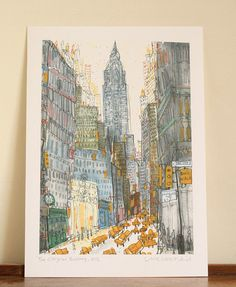 CHRYSLER BUILDING NYC / Signed Giclee Print taken from original watercolour & pencil painting by artist Clare Caulfield/New York City