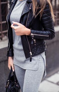 Cozy set from Ginatricot // leather jacket from Bodaskins