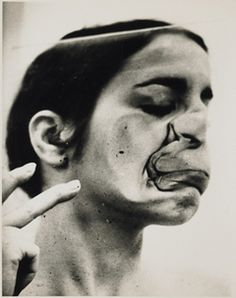 """Ana Mendieta, Untitled (Glass on Body Imprints––Face) (detail), 1972, black-and-white photograph, 10 x 8"""". From the series """"Glass on Body Imprints,"""" 1972."""