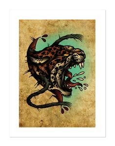 Leopard - The Beasts Within Series, Neo-Traditional Tattoo Flash, Old School, Art Print 12x16 by BlackMast on Etsy https://www.etsy.com/listing/221488225/leopard-the-beasts-within-series-neo