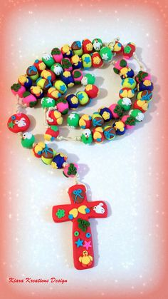 Handcrafted Catholic Rosary for Easter in polymer clay cross