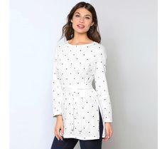 Tričko s opaskom Polka Dot Top, Blouse, Long Sleeve, Sleeves, Style Fashion, Women, Clothes, White Tunic, Polka Dots