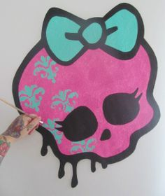 Handpainted HUGE Monster High Girly Skull Bow Logo Graffiti Drip Style Hand…