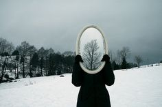 mirror, snow, wood