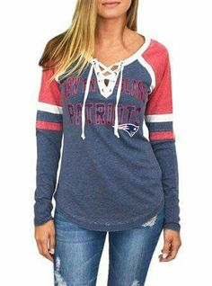 a772b5093 New England Patriots Womens Laceup Long Sleeve Top