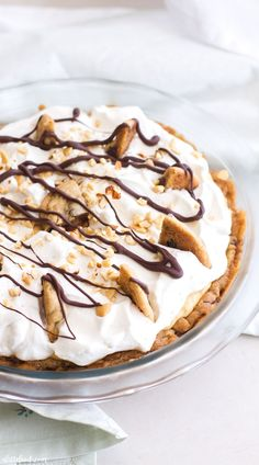 This rich chocolate chip cookie peanut butter cream pie is an easy dessert that tastes like a little slice of heaven!