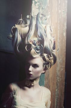 a take on marie antoinette's ship hairstyle. octopus included.