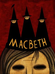 We see a crown in a shape of three witches, which implies that Macbeth's mind was controlled by the witches by telling him his future, which may of seemed great in the beggining but soon became violent and bloody.