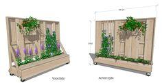 Verplaatsbare Plantenschutting met bankje