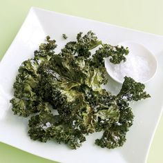 "Our crisp kale ""chips"" are virtually fat free — perfect for guilt-free snacking. #vegetables #myplate"
