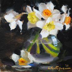 """Daily Paintworks - """"Spring Daffodils"""" by Elena Katsyura"""