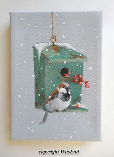 Little Sparrow's Winter House, by WitsEnd via Etsy