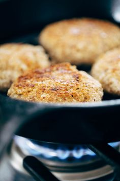 Frying Cauliflower Burgers | pinchofyum.com