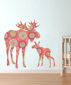 Take a look at this Pink Moose & Baby Wall Decal Set by LolliPOP Walls on #zulily today!