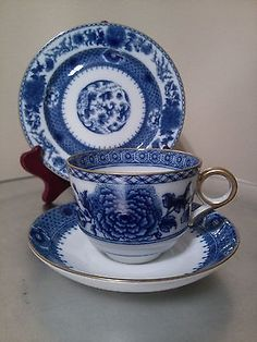 Mottahedeh Williamsburg Imperial Blue. Cup,saucer, B and B plate trio. Mint