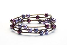 Purple Pearl Memory Wire Bracelet with Plum Wisteria Violet Lilac Glass Pearls and Antique Brass Beads - Handmade Jewelry