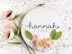 "8""  Name with 3 Dimensional Flowers - Personalized Felt and Embroidery Hoop Art - Nursery Decor - New Baby Gift by bluewithoutyoukids on Etsy https://www.etsy.com/listing/277880344/8-name-with-3-dimensional-flowers"