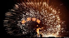 In Nuanquan, in Heibei province, blacksmiths use molten metal to create vivid displays of sparks, a tradition they say is cheaper than fireworks.