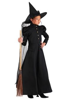 This deluxe girls witch costume is an exclusive witch costume for Halloween or Wizard of Oz plays! The kids witch costume is fun for a Wizard of Oz group costume!