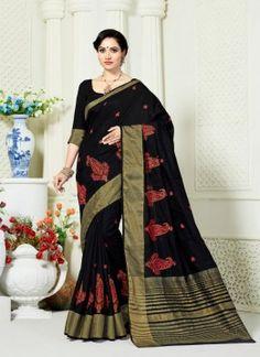 Art Silk Black Trendy Saree Al 712