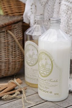 Put your laundry detergents and softener in antique (or replica) bottles to make the task a little nicer :)