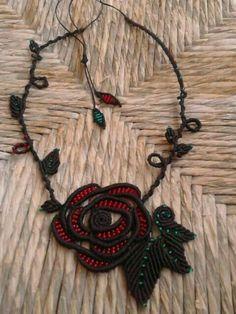 Macrame rose with glass beads (diy necklace macrame) Diy Necklace Macrame, Macrame Colar, Macrame Knots, Macrame Jewelry, Macrame Bracelets, Handmade Bracelets, Jewelry Art, Handmade Jewelry, Loom Bracelets